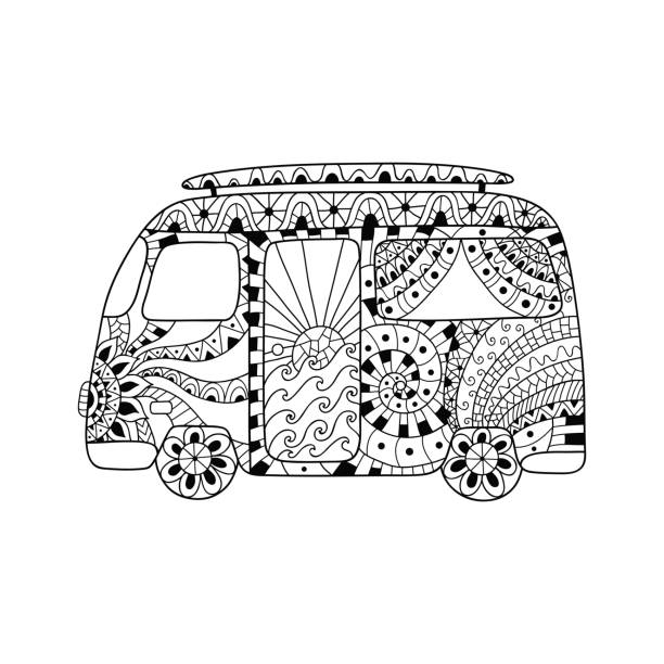Hippie vintage car a mini van in ornamental style for adult anti stress. Hippie vintage car a mini van in ornamental style for adult anti stress. Coloring page with high details isolated on white background. Hppie bus. Retro 1960s, 60s, 70s.  Vintage classic camper van. indy racing league indycar series stock illustrations