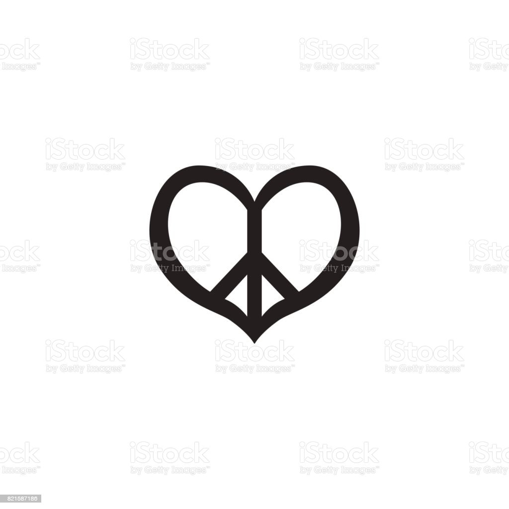 Hippie Vintage Peace Symbol Icon Pacific Sign In Hearts Shape Logo