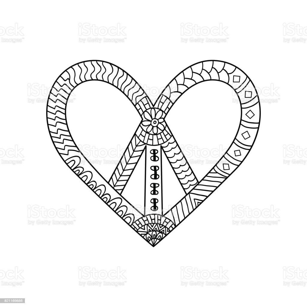 Hippie Vintage Friedenssymbol In Ornamentaler Stil Für Erwachsene ...