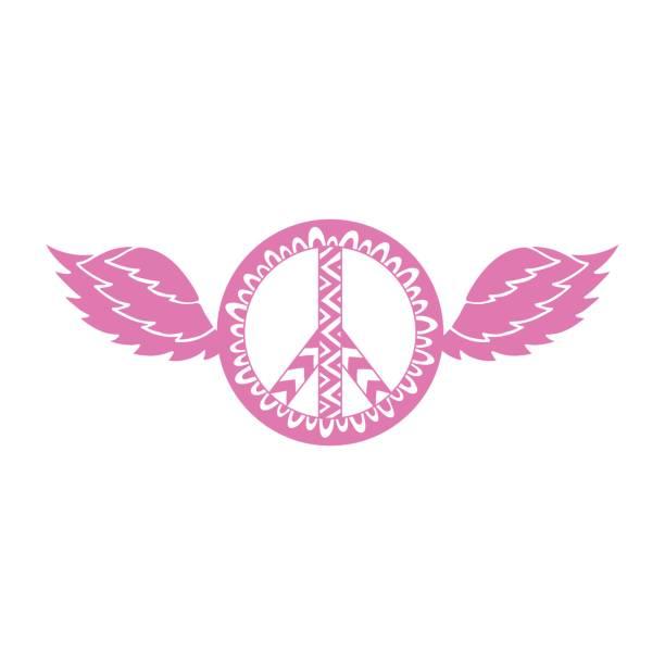 hippie vintage friedenssymbol in ornamentaler stil mit flügeln. - zigeunerleben stock-grafiken, -clipart, -cartoons und -symbole