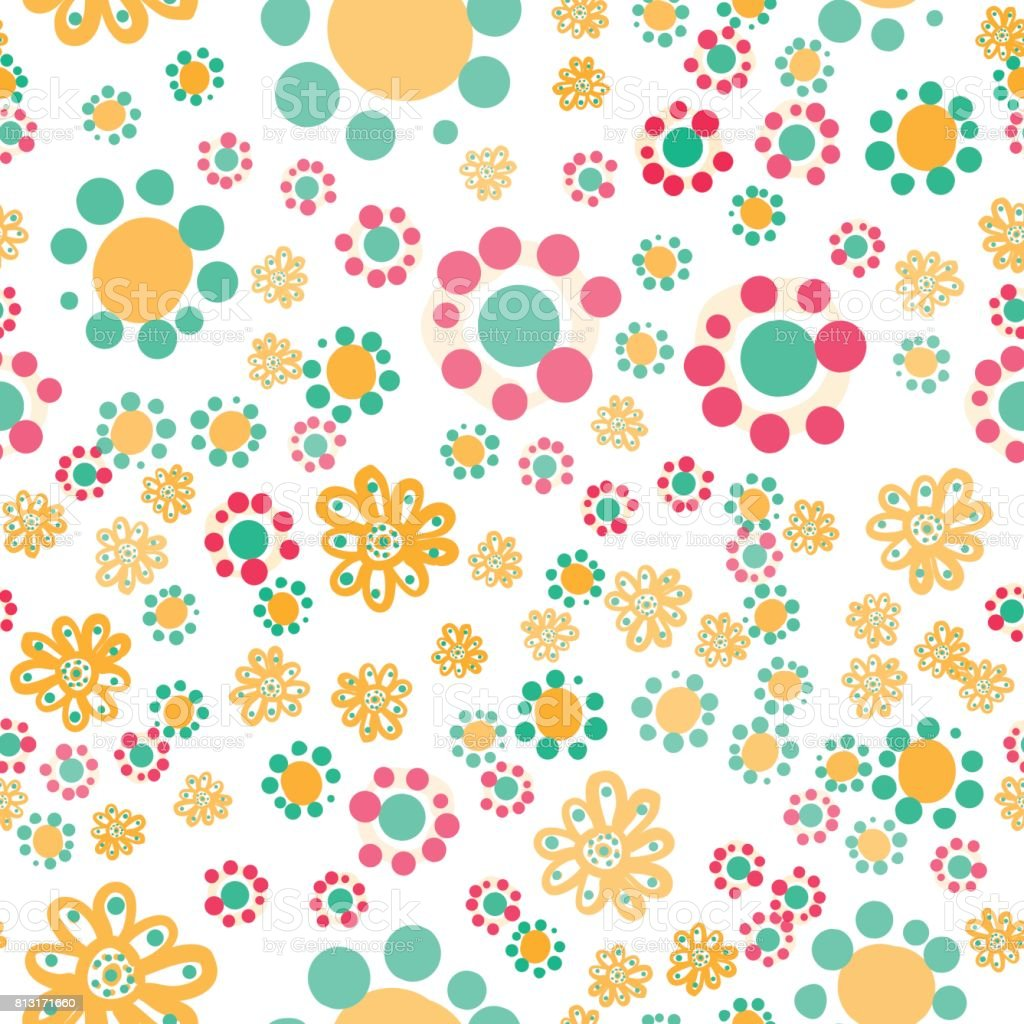 Hippie wallpaper with funny stylized colorful flowers on white background - Illustration .