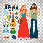 Hippie woman with long hair and man with guitar isolated on transparent background, vector illustration