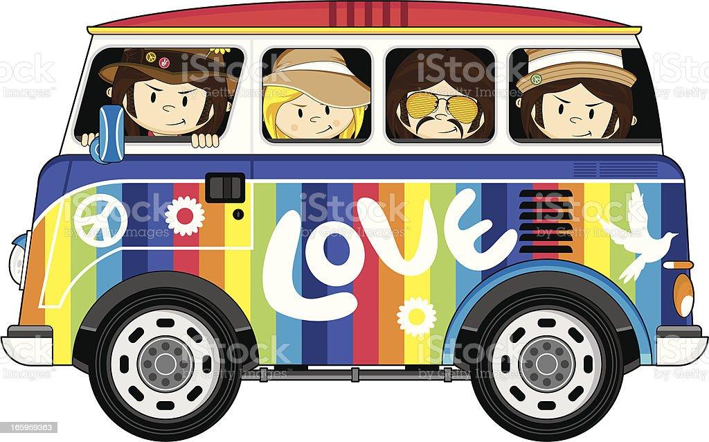 Hippies in Rainbow Van royalty-free hippies in rainbow van stock vector art & more images of 1960-1969