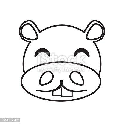 Ilustración de Esquema Animal De Cara De Hipopótamo y más banco de ...
