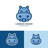 Cute animals alphabet for kids education. H for hippopotamus, Cute animal alphabet series