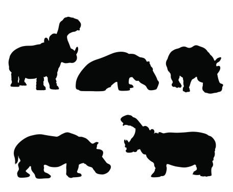 Hippo silhouette set