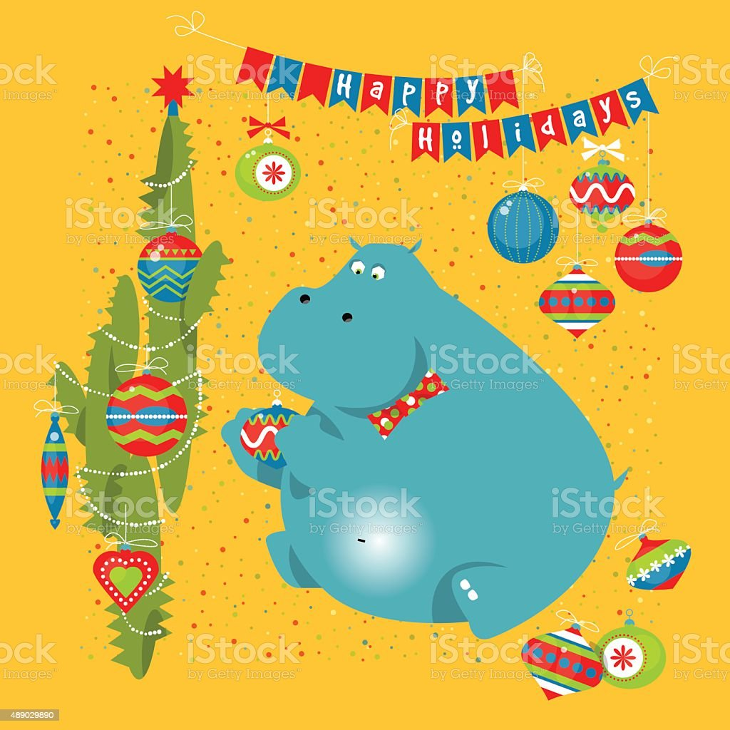 hippo with cactus and christmas decorations happy holidays royalty free hippo with cactus