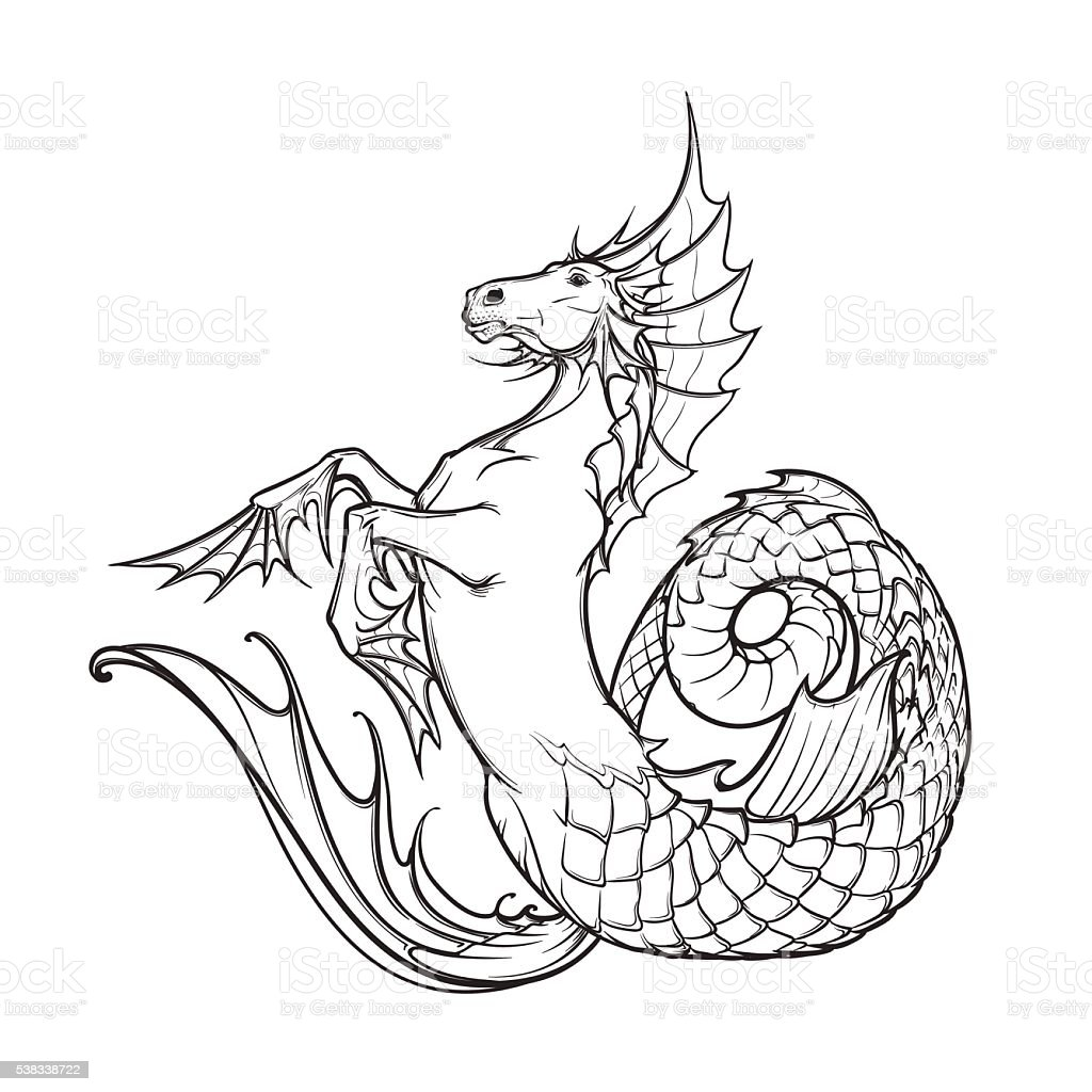 hippocampus or kelpie supernatural water beast. Black and white sketch. vector art illustration