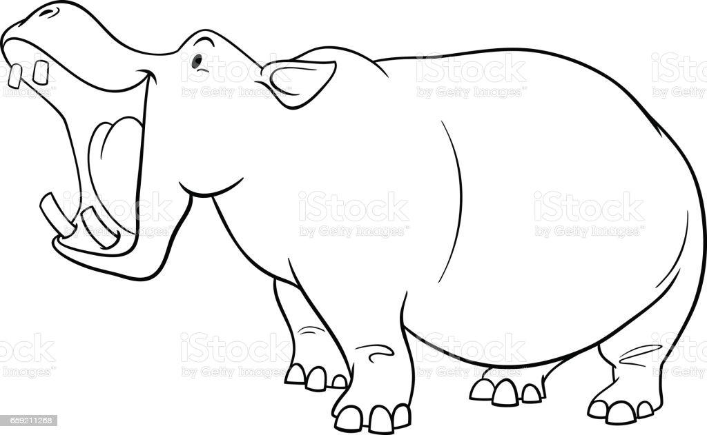Ilustración de Página Para Colorear De Hipopótamo Carácter y más ...