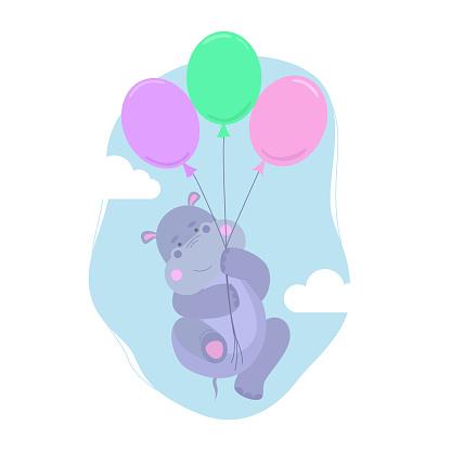 Hippopotamus flies on balls