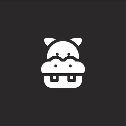 hippopotamus icon. Filled hippopotamus icon for website design and mobile, app development. hippopotamus icon from filled jungle collection isolated on black background.