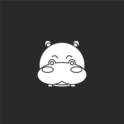 hippopotamus icon. Filled hippopotamus icon for website design and mobile, app development. hippopotamus icon from filled animals collection isolated on black background.