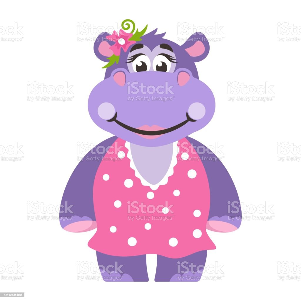 A hippopotamus (girl) in a pink dress with polka dots. With a flower. royalty-free a hippopotamus in a pink dress with polka dots with a flower stock vector art & more images of africa