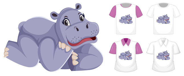 Hippopotamus in laying position cartoon character with many types of shirts on white background