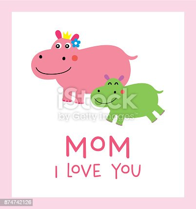 istock Hippopotamus Mother'sDay Greeting Card Vector 874742126