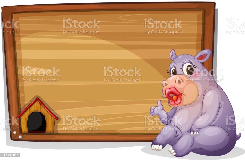 Hipopótamo sala de estar junto a un tablero de madera en blanco ilustración de hipopótamo sala de estar junto a un tablero de madera en blanco y más banco de imágenes de animal libre de derechos