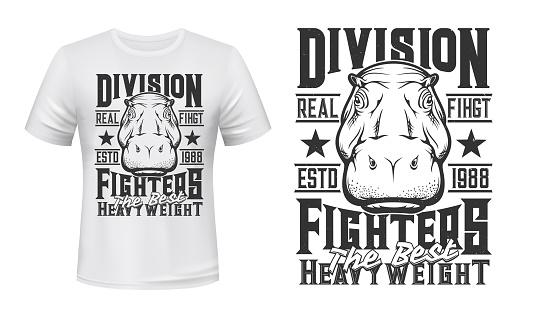 Hippopotamus weight fighters club t-shirt print