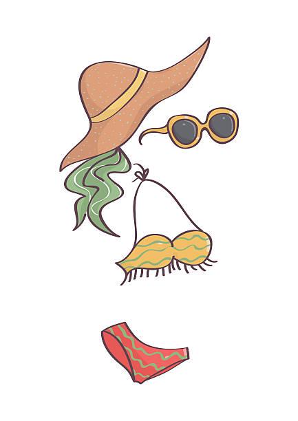 2ede451fa2 Hippy style swimsuit, head scarf, hat ans sunglasses vector art illustration