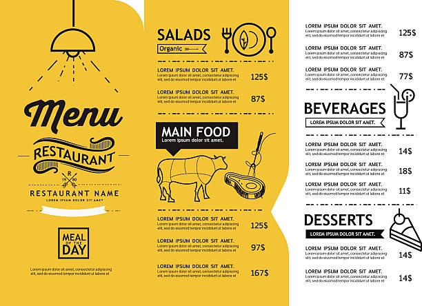 illustrazioni stock, clip art, cartoni animati e icone di tendenza di slip a vita bassa e arte vintage modello di progettazione ristorante menu. - menù