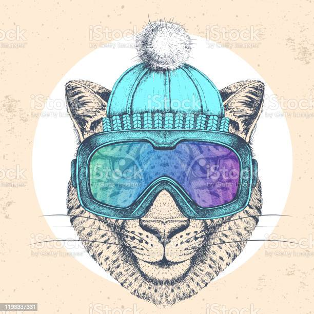 Hipster animal cheetah in winter hat and snowboard goggles hand of vector id1193337331?b=1&k=6&m=1193337331&s=612x612&h=nenwsudiojbsbhfccyucx f6h0auxo3fjwmpigcm6uq=