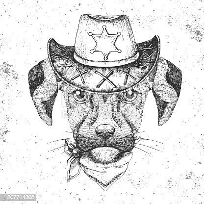 Hipster animal dog. Hand drawing Muzzle of dog