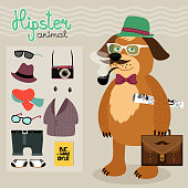 Hipster character elements for nerd puppy dog with customizable face look and clothing vector illustration