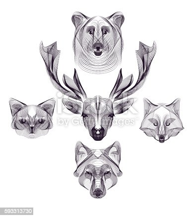 Hipster vector animal head set. Deer, wolf, bear, fox, cat. Wild animals illustration for posters, greeting cards, flyers, banner, web designs. Holiday, wedding, business, birthday, party invitations