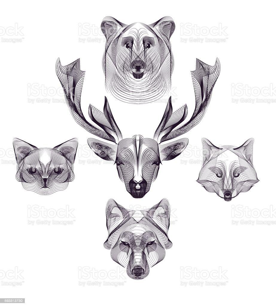 hipster animal head vector art illustration