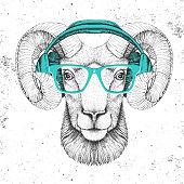 istock Hipster animal ram or mouflon with headphones. Hand drawing Muzzle of animal ram 1214906187