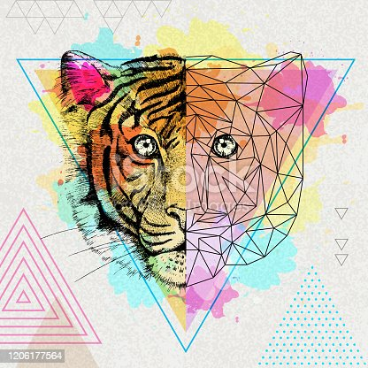 istock Hipster animal realistic and polygonal tiger on artistic watercolor background 1206177564