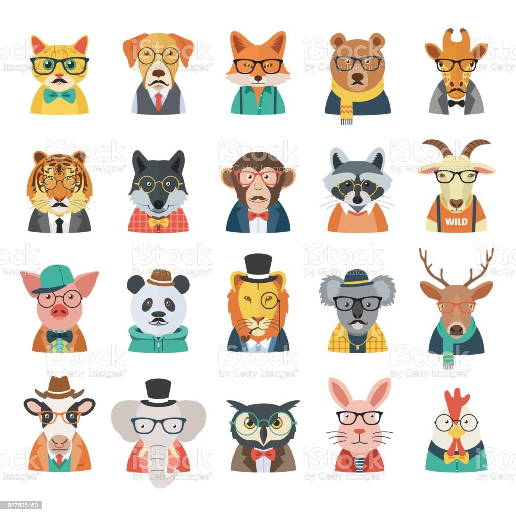 Hipster Animal Set royalty-free hipster animal set stock illustration - download image now