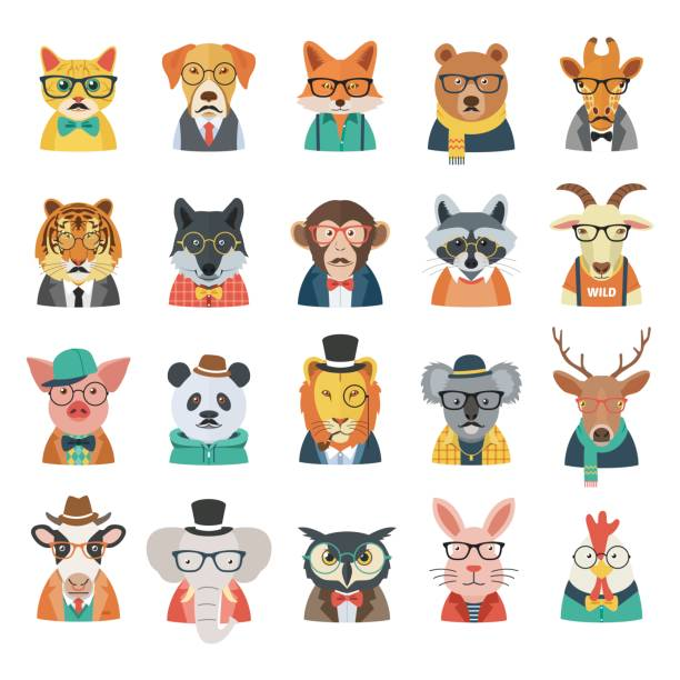 Hipster Animal Set vector art illustration