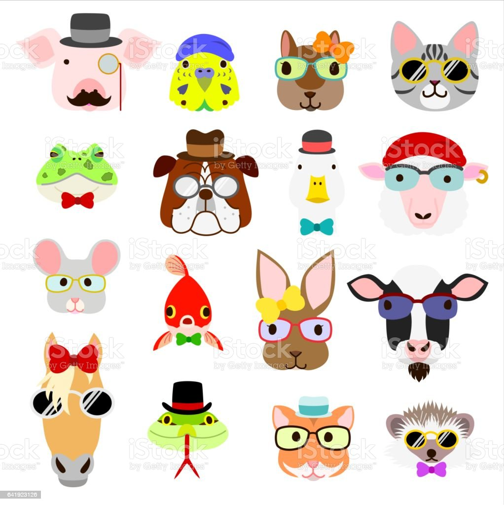 hipster animals faces set