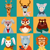 Decorative animal hipsters icons set cat bear owl lion isolated vector illustration