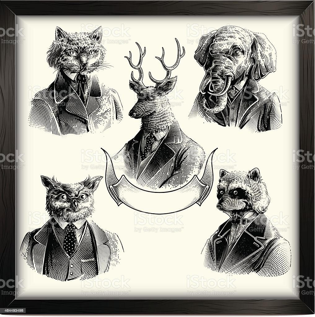Hipster animals set vector art illustration
