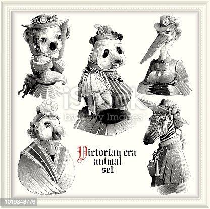 Victorian Era female animals . eps9