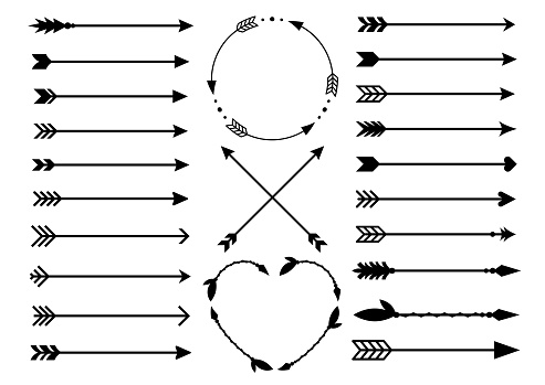 Hipster arrows. Arrows in boho style. Criss cross tribal arrows. Circle and heart monograms. Set of Indian style arrows. Rustic decorative arrows. Vector