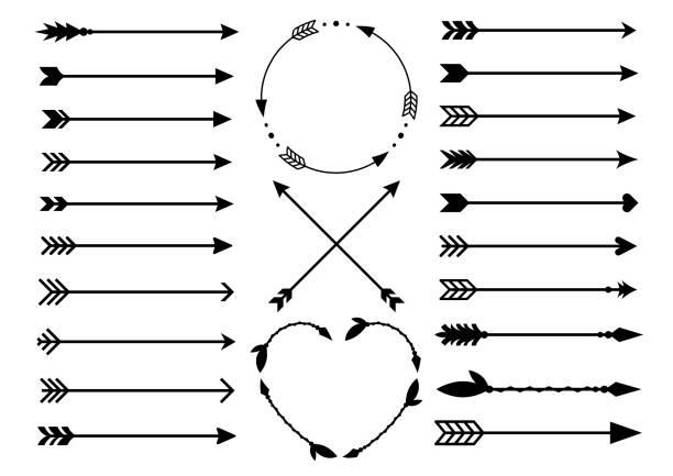 hipster oklar. oklar boho tarzı. kabile okları criss cross. daire ve kalp monogram. hint tarzı okları kümesi. rustik dekoratif oklar. vektör - rustik stock illustrations