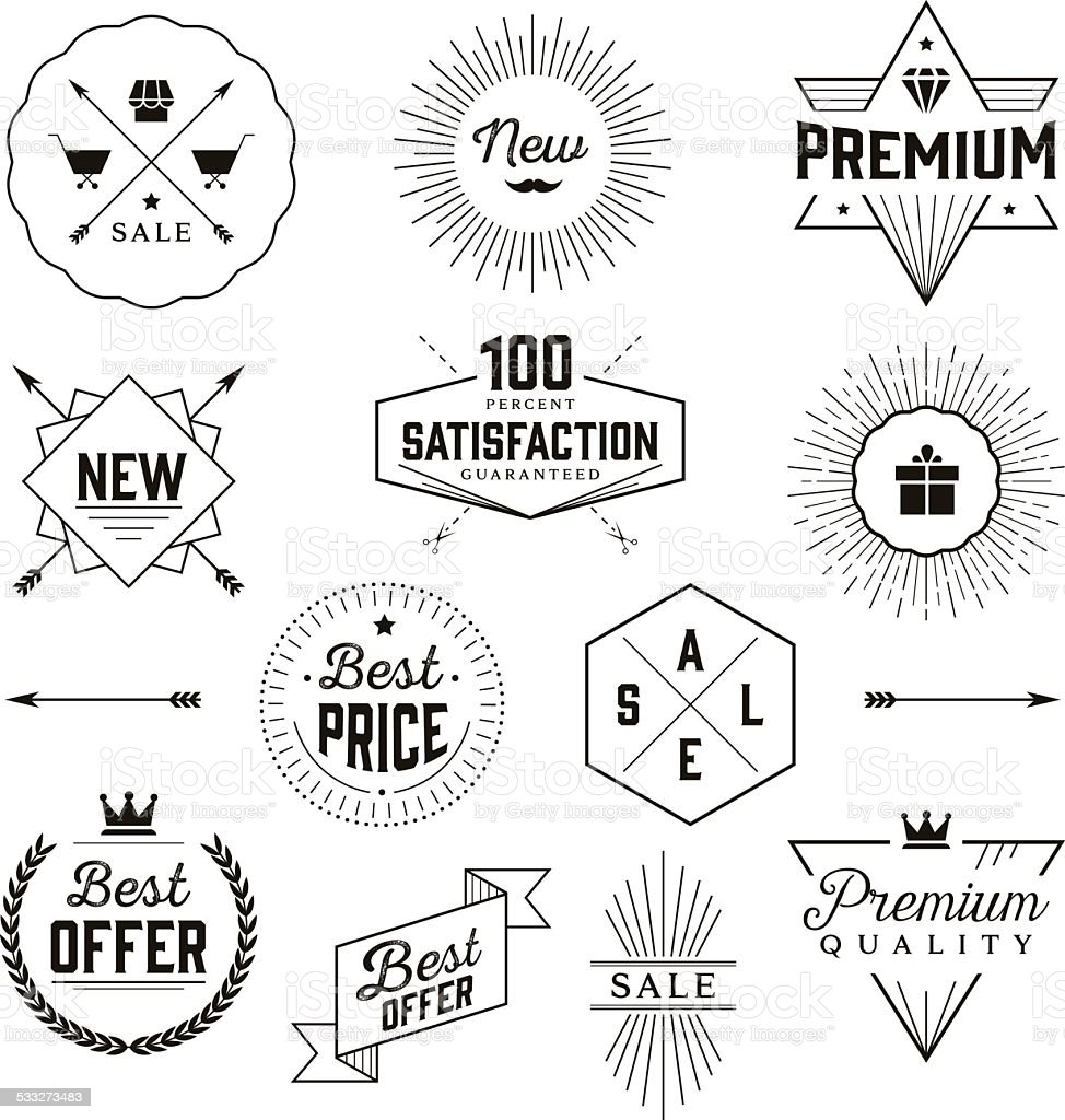 Hipster Badges vector art illustration