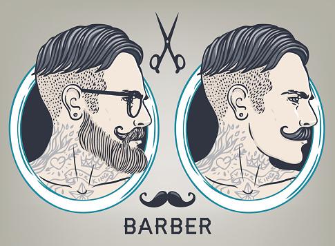 Hipster Barber Shop Business Card design template.