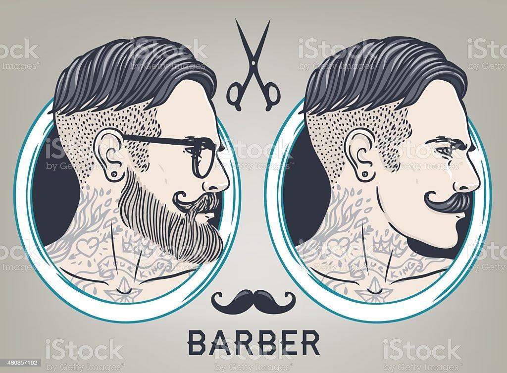 Hipster Barber Shop Business Card design template. vector art illustration