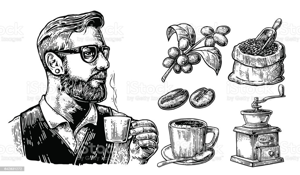 Hipster barista holding a cup of hot coffee Sack with coffee beans with wooden scoop and beans, cup, branch with leaf and berry. vector art illustration