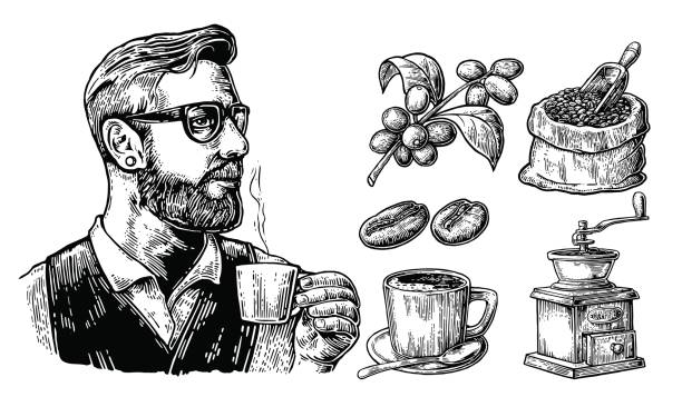 hipster barista holding a cup of hot coffee sack with coffee beans with wooden scoop and beans, cup, branch with leaf and berry. - barista stock illustrations, clip art, cartoons, & icons