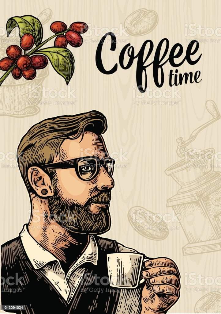 Hipster barista holding cup coffee and branch with leaf and berry. vector art illustration