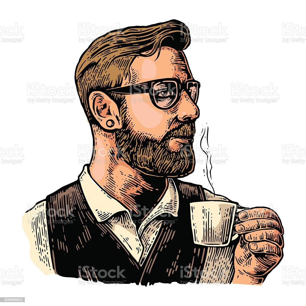 Hipster barista with the beard holding a cup of coffee. vector art illustration