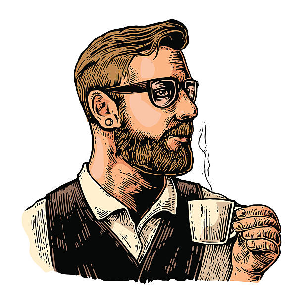 hipster barista with the beard holding a cup of coffee. - barista stock illustrations, clip art, cartoons, & icons