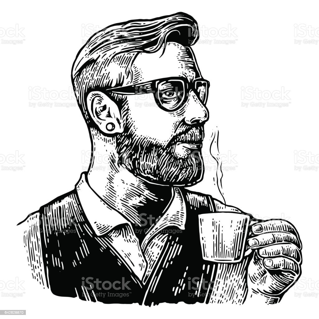 Hipster barista with the beard holding a cup of hot coffee. vector art illustration