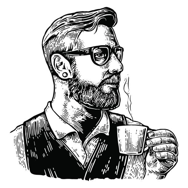 hipster barista with the beard holding a cup of hot coffee. - barista stock illustrations, clip art, cartoons, & icons