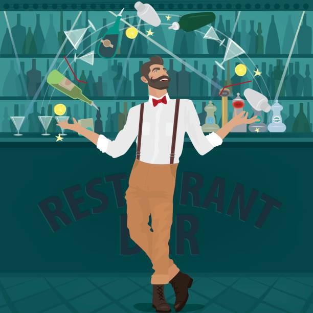 Hipster bartender deftly juggles bottles vector art illustration