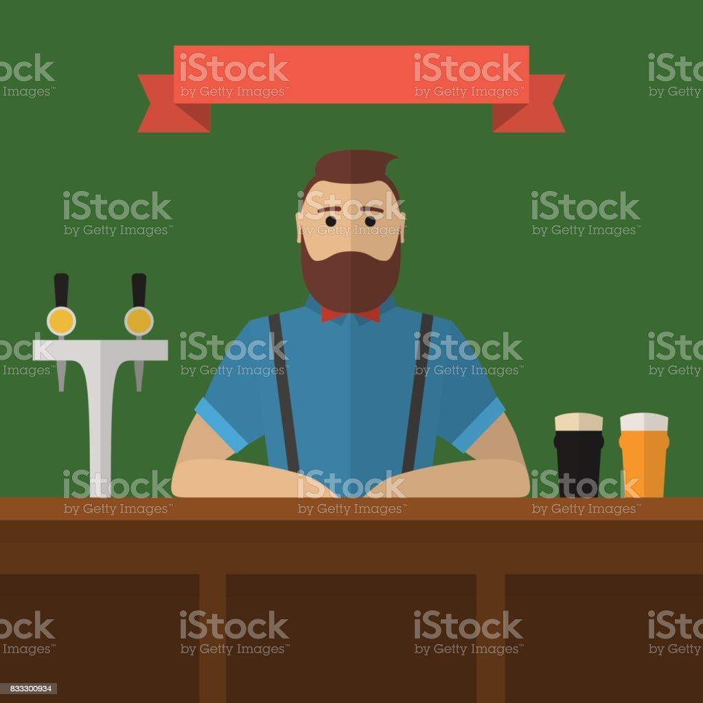 Hipster bartender flat illustration. vector art illustration